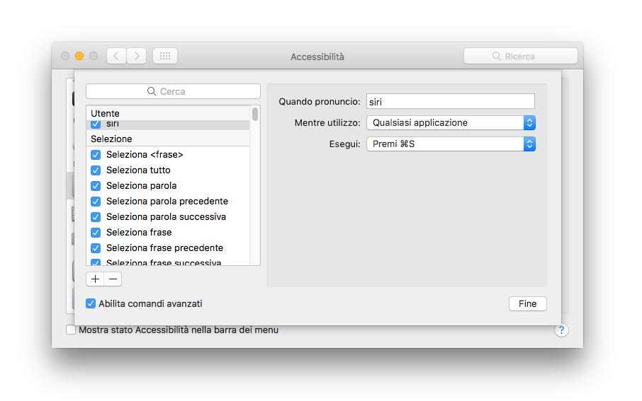Comandi Dettatura Migliorata Attivazione Siri macos Sierra