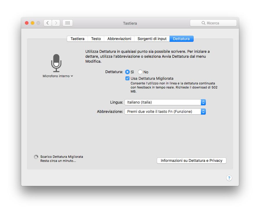 Dettatura Migliorata Attivazione Siri macos Sierra