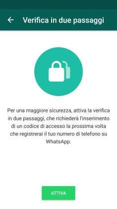 Attiva verifica in due passaggi Whatsapp