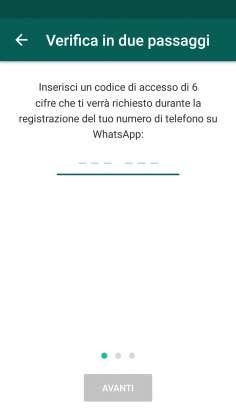 Codice verifica in due passaggi Whatsapp