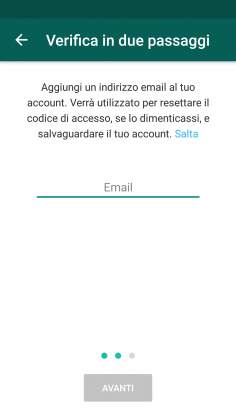 Email verifica in due passaggi Whatsapp