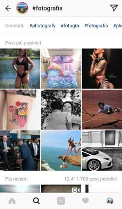 Ricerca Hashtag Storie Instagram
