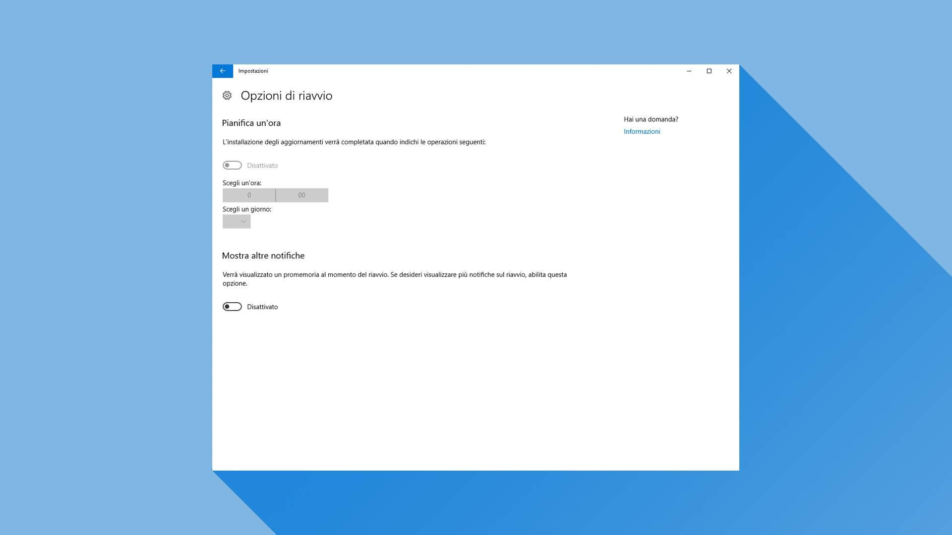 Opzioni di riavvio Windows Creators Update