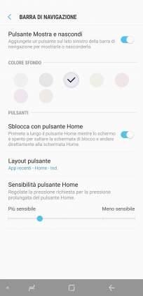 Impostazioni dopo barra navigazione Samsung Galaxy S8