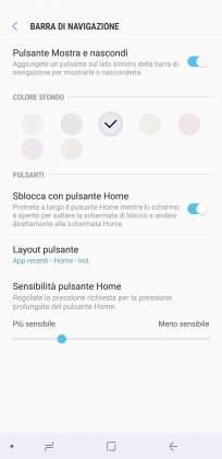 Impostazioni prima barra navigazione Samsung Galaxy S8