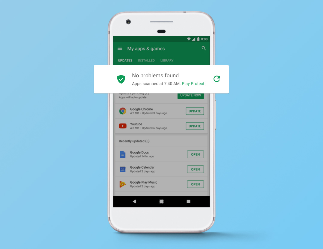 Scansione Aggiornamento Google Play Protect