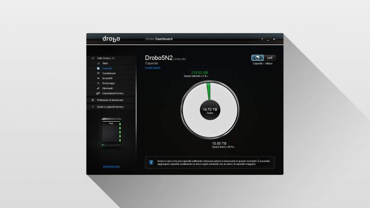 Interfaccia Dashboard NAS Drobo 5N2 page 2