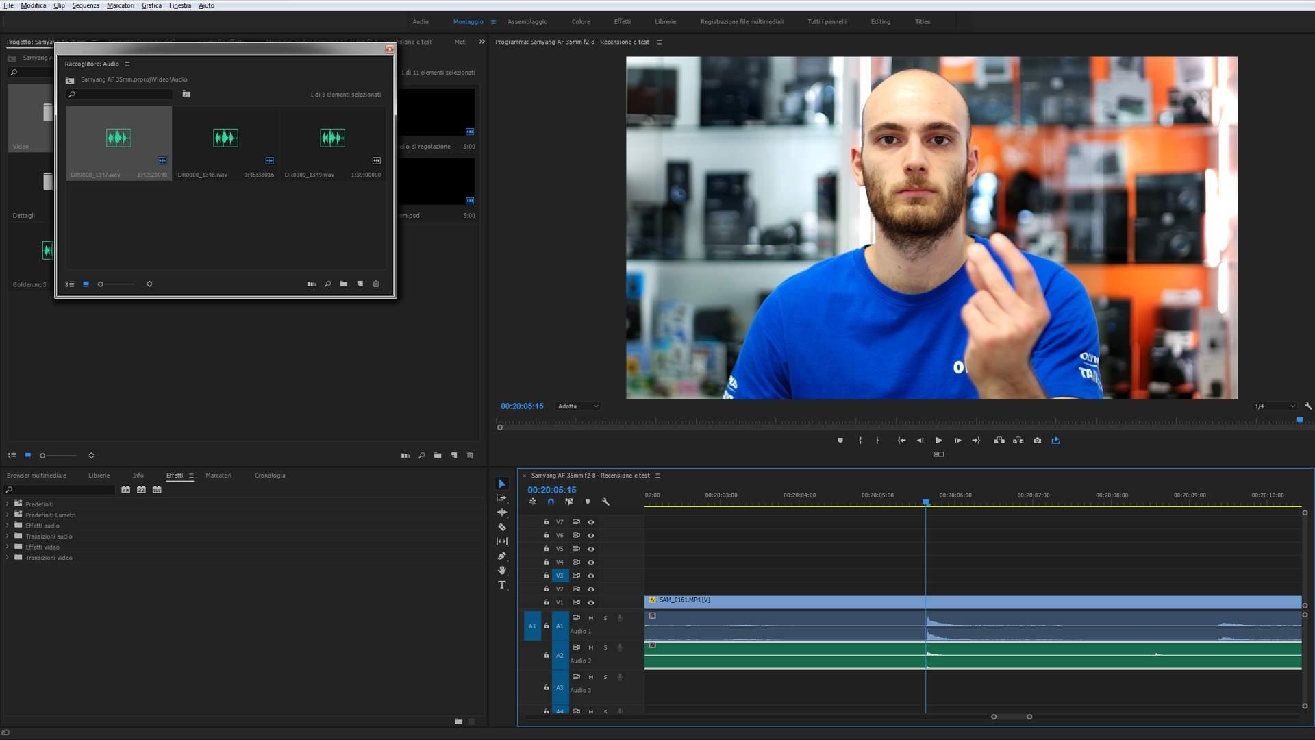 Schermata Sincronizzazione Audioregistratore Traccia Video