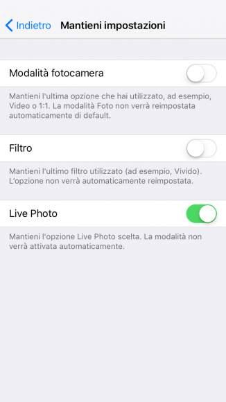 Menu mantieni impostazioni iphone iOS 11 tutorial fotocamera