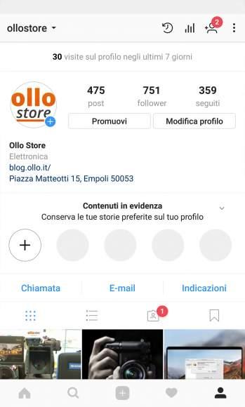 Profilo Instagram Ollo Store Archivio Storie Tutorial