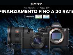 Con Sony finanziamenti tasso zero a 20 rate su fotocamere e ottiche