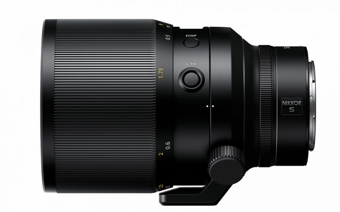 Vista laterale Nikon Nikkor Z 58mm f0.95 Noct