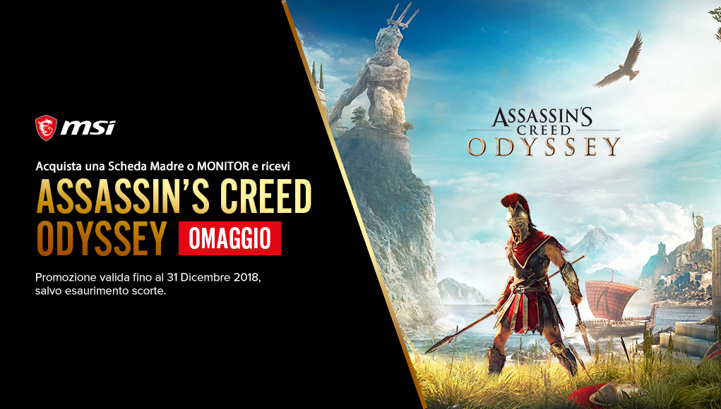 Acquista un prodotto MSI e ricevi Assassin's Creed Odyssey in omaggio